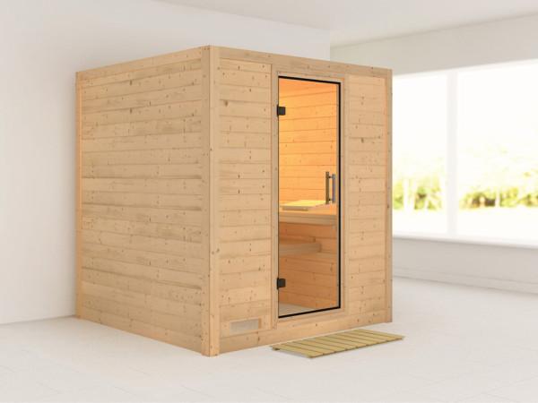 Sauna Massivholzsauna Mojave Klarglas Ganzglastür