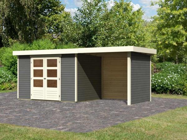 Gartenhaus SET Askola 4 19 mm terragrau, inkl. 2,4 m Anbaudach + Seiten-/Rückwand