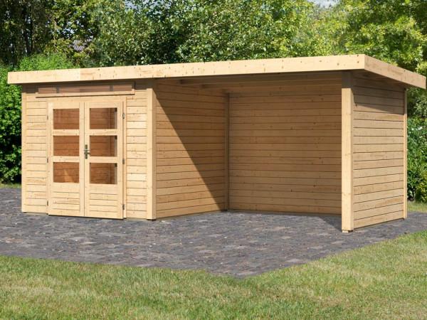 Gartenhaus SET Kandern 3 28 mm naturbelassen, inkl. 3,2 m Anbaudach + Seiten- und Rückwand