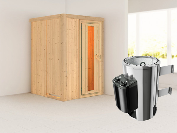 Sauna Systemsauna Lenja Energiespartür + Plug & Play Saunaofen mit Steuerung