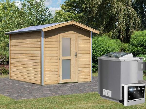 Saunahaus Bosse 1 mit Milchglastür & Vorraum, inkl. 9 kW Bio-Kombiofen mit externer Steuerung