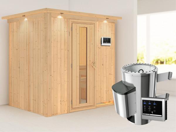 Sauna Systemsauna Fanja mit Dachkranz, Energiespartür + Plug & Play Saunaofen mit ext. Steuerung