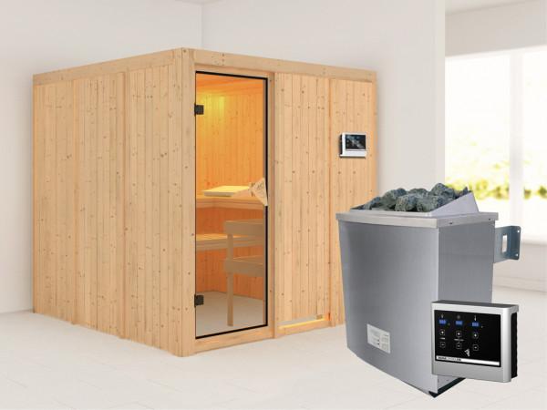 Systemsauna Rodin bronzierte Ganzglastür, inkl. 9 kW Saunaofen ext. Steuerung