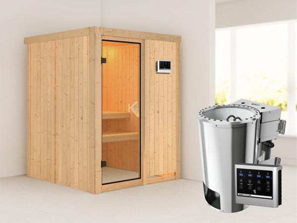 Sauna Systemsauna Minja inkl. Plug & Play Bio-Ofen externe Steuerung