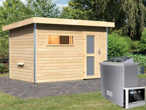 Saunahaus Skrollan 1 mit Milchglastür & Vorraum, inkl. 9 kW Saunaofen mit externer Steuerung