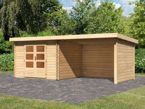 Gartenhaus BBH SET Bastrup 5 28 mm naturbelassen, inkl. 3,0 m Anbaudach + Seiten- und Rückwand