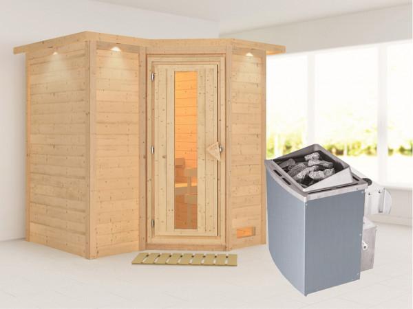 Massivholzsauna Sahib 1 mit Dachkranz, Holztür mit Isolierglas, inkl. 9 kW Ofen integr. Steuerung