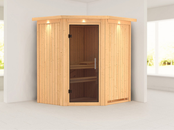 Sauna Systemsauna Tonja mit Dachkranz, graphit Ganzglastür