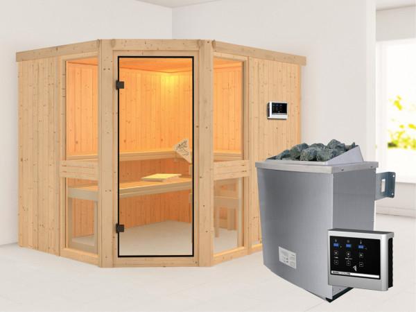 "Sauna Systemsauna ""Amelia 3"" inkl. 9 kW Saunaofen ext. Steuerung"