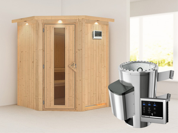 Sauna Systemsauna Nanja mit Dachkranz, Energiespartür + Plug & Play Saunaofen mit ext. Steuerung