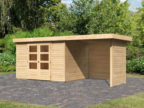 Gartenhaus SET Askola 5 19 mm naturbelassen, inkl. 2,4 m Anbaudach + Seiten- und Rückwand