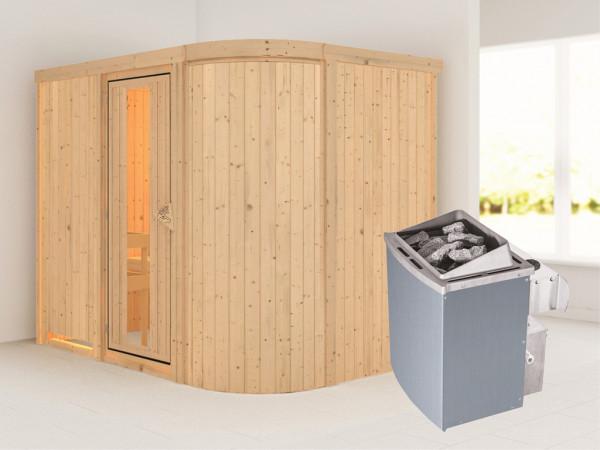 Sauna Systemsauna Titania 4 Energiespartür + 9 kW Saunaofen mit Steuerung