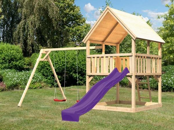 Spielturm Set Luis naturbelassen inkl. Rutsche violett und Doppelschaukel