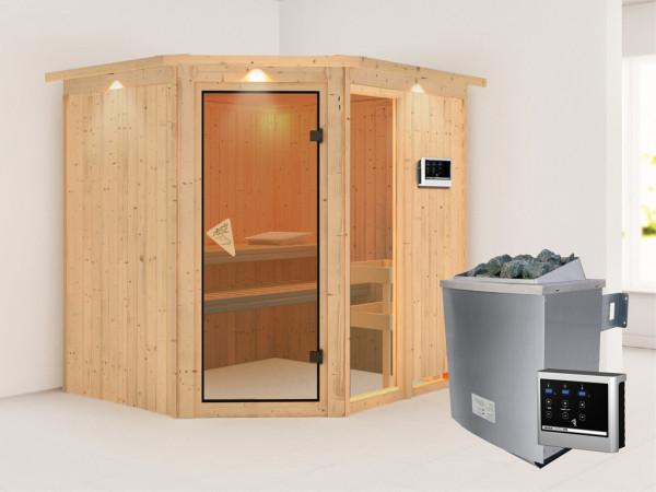Sauna Systemsauna Fiona 2 mit Dachkranz, inkl. 9 kW Saunaofen ext. Steuerung
