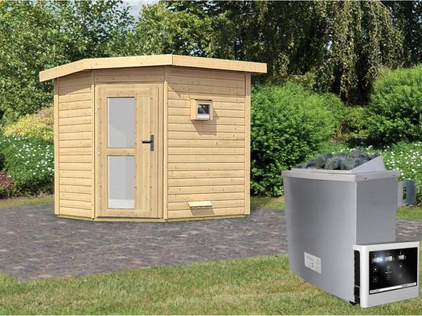 Saunahaus Mikka mit Milchglastür, inkl. 9 kW Saunaofen mit externer Steuerung