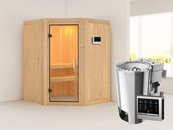 Sauna Systemsauna Nanja Klarglas Ganzglastür + Plug & Play Bio-Ofen mit externer Steuerung