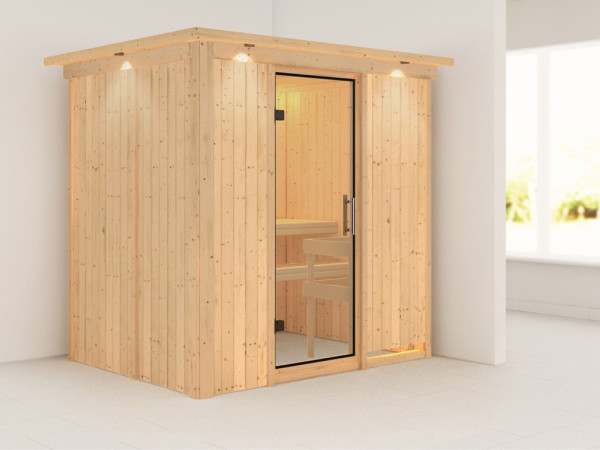 Sauna Systemsauna Fanja mit Dachkranz, Klarglas Ganzglastür