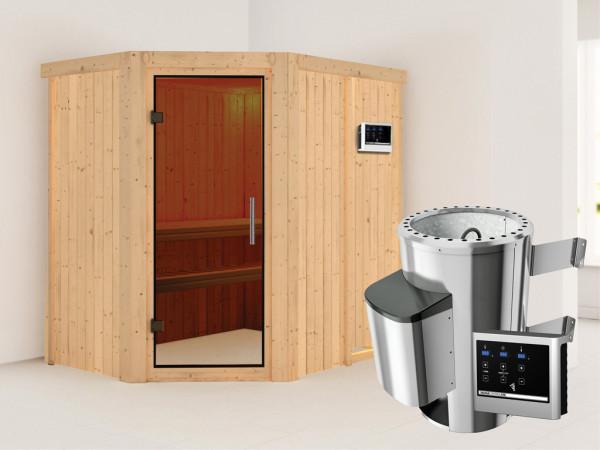 Sauna Systemsauna Saja graphit Ganzglastür + Plug & Play Saunaofen mit externer Steuerung