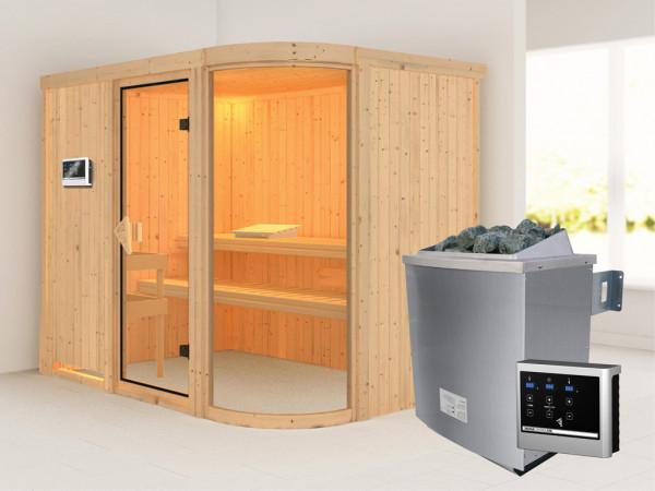 "Sauna Systemsauna ""Parima 4"" inkl. 9 kW Saunaofen ext. Steuerung"