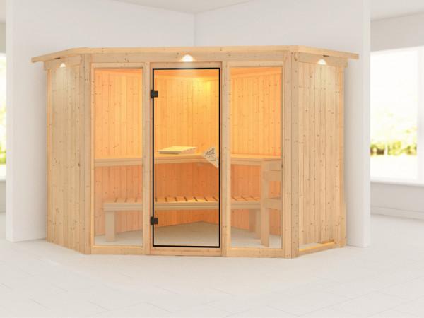Sauna Systemsauna Flora 2 mit Dachkranz