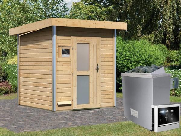 Saunahaus Torge mit Milchglastür, inkl. 9 kW Saunaofen mit externer Steuerung