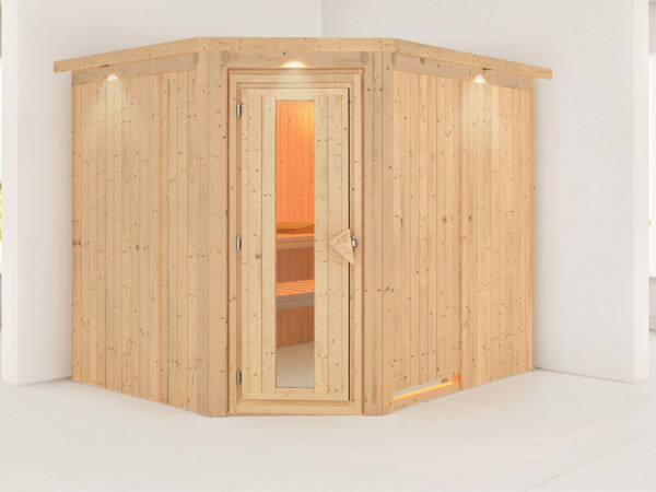 Systemsauna Malin mit Dachkranz, Holztür mit Isolierglas