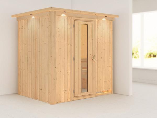 Sauna Systemsauna Fanja mit Dachkranz, Energiespartür