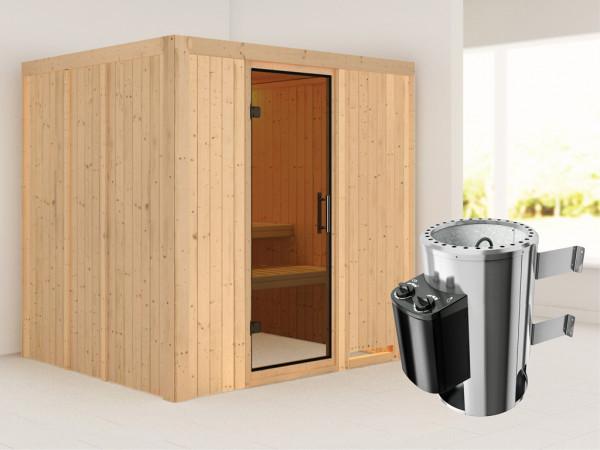 Sauna Systemsauna Daria graphit Ganzglastür + Plug & Play Saunaofen mit Steuerung