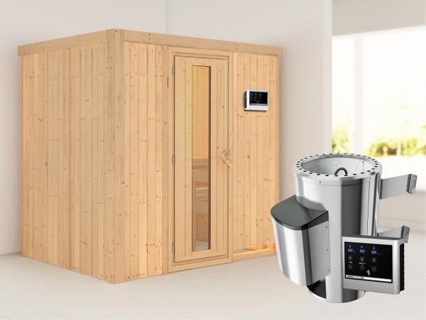 Sauna Systemsauna Fanja Energiespartür + Plug & Play Saunaofen mit externer Steuerung