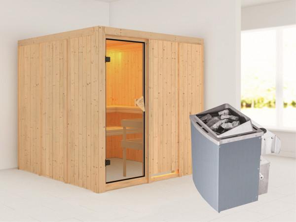 Systemsauna Rodin bronzierte Ganzglastür, inkl. 9 kW Saunaofen integr. Steuerung