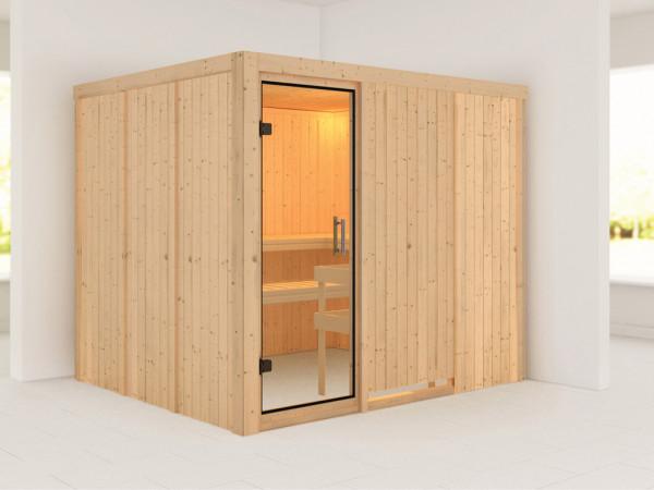 Sauna Systemsauna Gobin Klarglas Ganzglastür
