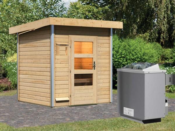 Saunahaus Torge mit Klarglastür, inkl. 9 kW Saunaofen mit integrierter Steuerung