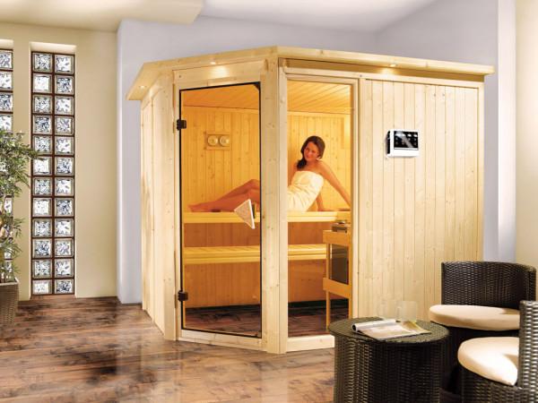 Sauna Systemsauna Fiona 3 mit Dachkranz, inkl. 9 kW Bio-Kombiofen ext. Steuerung