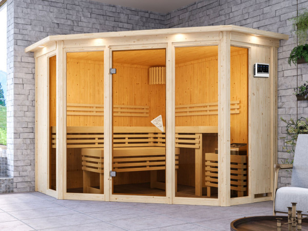 Sauna Alcinda mit bronzierter Glastür und Dachkranz + 9 kW Bio-Kombiofen mit ext. Strg.