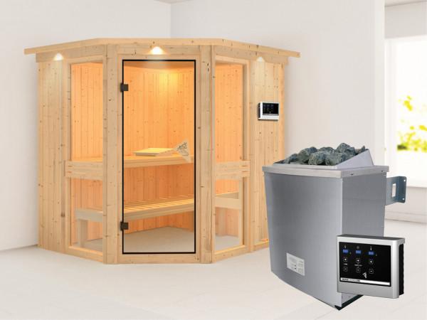 Sauna Systemsauna Amelia 1 mit Dachkranz, inkl. 9 kW Saunaofen ext. Steuerung