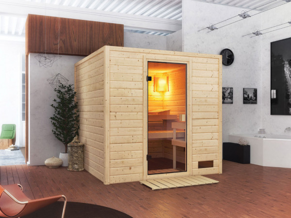 Sauna Massivholzsauna Jara, mit bronzierter Ganzglastür