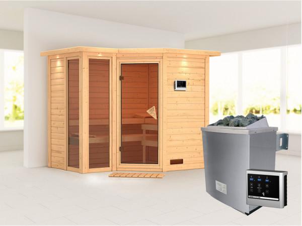 Sauna Massivholzsauna Amara mit Dachkranz inkl. 9 kW Saunaofen ext. Steuerung