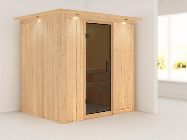 Sauna Systemsauna Fanja mit Dachkranz, graphit Ganzglastür