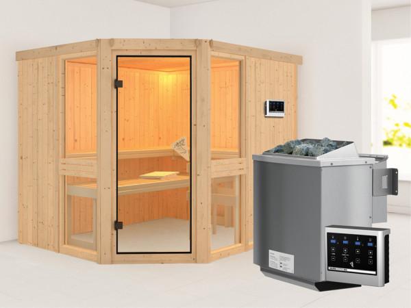 Sauna Systemsauna Amelia 3 inkl. 9 kW Bio-Kombiofen ext. Steuerung