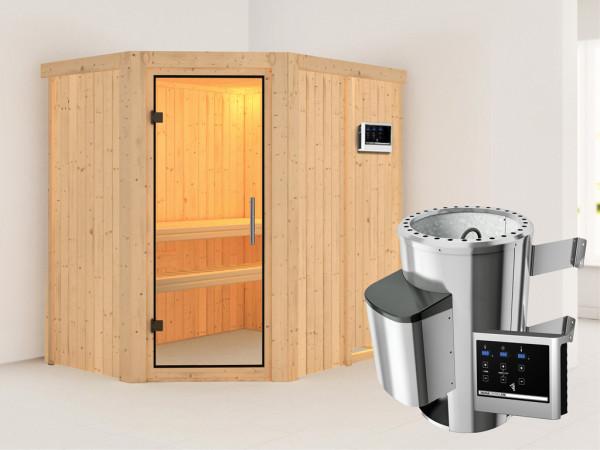Sauna Systemsauna Saja Klarglas Ganzglastür + Plug & Play Saunaofen mit externer Steuerung
