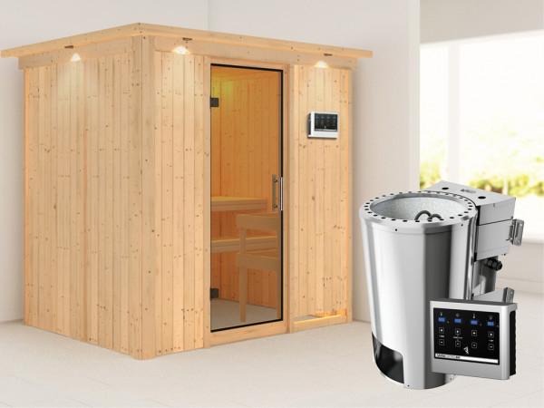 Sauna Systemsauna Fanja mit Dachkranz, Klarglas Ganzglastür + Plug & Play Bio-Ofen mit ext. Strg