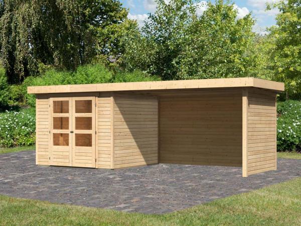 Gartenhaus SET Askola 3,5 19 mm naturbelassen, inkl. 2,8 m Anbaudach + Seiten- und Rückwand
