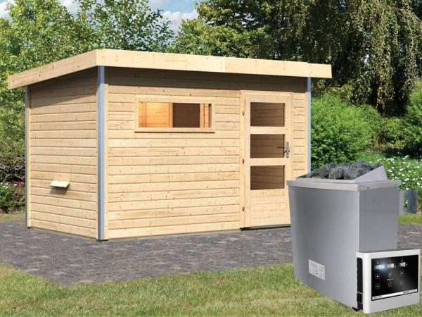 Saunahaus Skrollan 1 mit Klarglastür & Vorraum, inkl. 9 kW Saunaofen mit externer Steuerung
