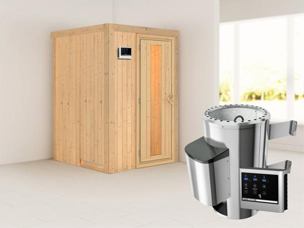 Sauna Systemsauna Lenja Energiespartür + Plug & Play Saunaofen mit externer Steuerung