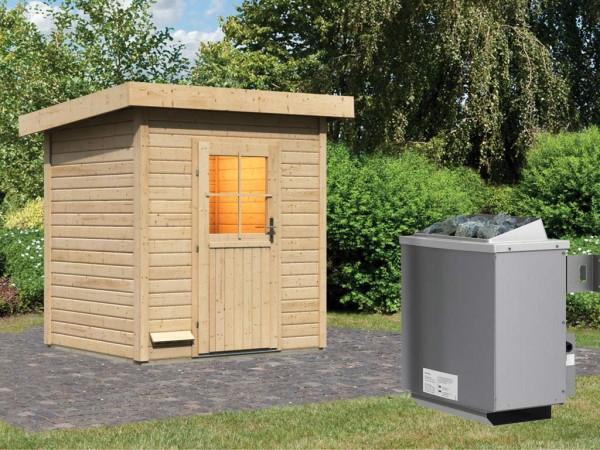 Saunahaus Jana mit Holztür, inkl. 9 kW Saunaofen mit integrierter Steuerung