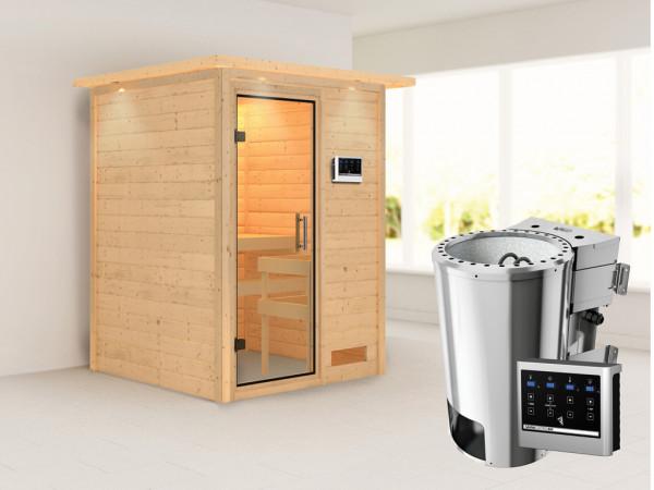 Sauna Massivholzsauna Nadja mit Dachkranz, Klarglas Ganzglastür, Plug & Play Bio-Ofen mit ext.Strg