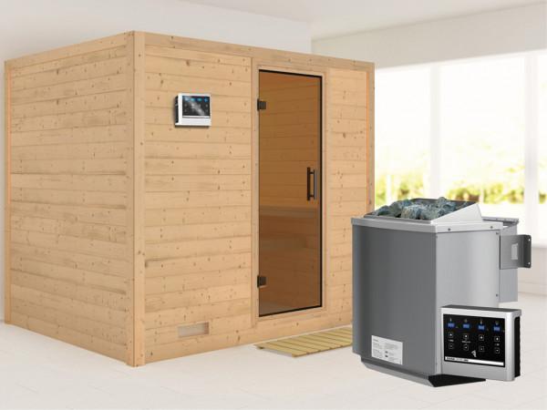 Massivholzsauna Sonara graphit Ganzglastür, inkl. 9 kW Bio-Kombiofen ext. Steuerung