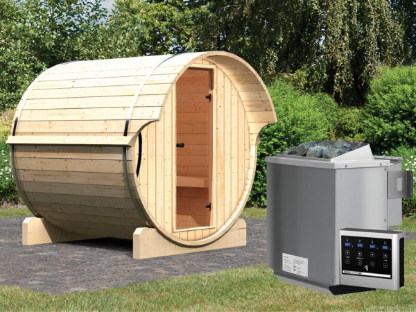 "Saunafass ""Fass-Sauna 1"" inkl. 9 kW Bio-Kombiofen ext. Steuerung"