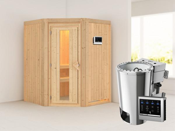 Sauna Systemsauna Nanja Energiespartür + Plug & Play Bio-Ofen mit externer Steuerung