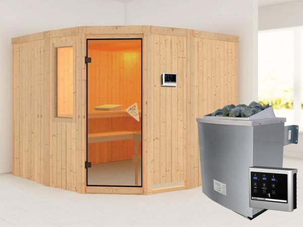 Sauna Systemsauna Simara 3 mit Fenster, inkl. 9 kW Saunaofen ext. Steuerung